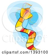 Clipart Of A Kite Over Blue Sky Royalty Free Vector Illustration by Lal Perera