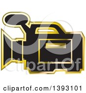 Clipart Of A Black And Gold Video Camera Icon Royalty Free Vector Illustration by Lal Perera