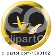 Clipart Of A Round Black And Gold Airplane Icon Royalty Free Vector Illustration by Lal Perera