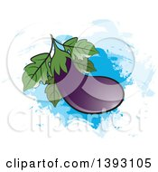 Clipart Of A Purple Eggplant Over Blue Paint Strokes Royalty Free Vector Illustration by Lal Perera