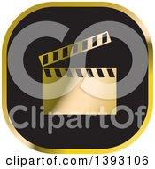 Clipart Of A Black And Gold Clapperboard Icon Royalty Free Vector Illustration by Lal Perera
