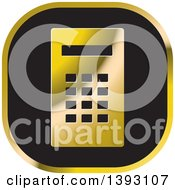 Clipart Of A Black And Gold Calculator Icon Royalty Free Vector Illustration