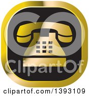 Black And Gold Telephone Icon