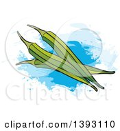 Clipart Of Ladyfinger Okra Over Paint Strokes Royalty Free Vector Illustration by Lal Perera