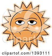 Clipart Of A Grumpy Sun Royalty Free Vector Illustration