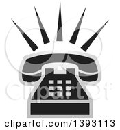 Clipart Of A Black And Silver Ringing Phone Icon Royalty Free Vector Illustration