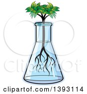 Clipart Of A Seedling Tree Growing In A Beaker Royalty Free Vector Illustration