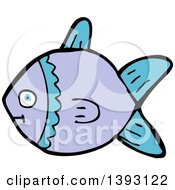 Clipart Of A Cartoon Purple Fish Royalty Free Vector Illustration