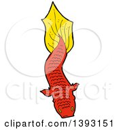 Clipart Of A Red Koi Carp Fish Royalty Free Vector Illustration