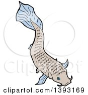 Clipart Of A Koi Carp Fish Royalty Free Vector Illustration by lineartestpilot
