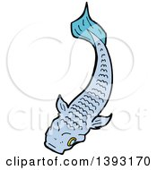 Clipart Of A Blue Koi Carp Fish Royalty Free Vector Illustration by lineartestpilot