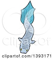 Clipart Of A Blue Koi Carp Fish Royalty Free Vector Illustration