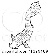 Clipart Of A Black And White Lineart Koi Carp Fish Royalty Free Vector Illustration