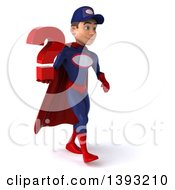 Clipart Of A 3d Young White Male Super Hero Mechanic In Red And Blue On A White Background Royalty Free Illustration