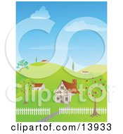 Cute Houses On A Hilly Landscape Clipart Illustration