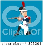 Clipart Of A Pixelated Aiming Napoleonic Soldier On A Blue Background Royalty Free Illustration