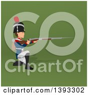 Clipart Of A Cartoon Napoleonic Soldier On A Green Background Royalty Free Illustration