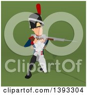 Clipart Of A Cartoon Napoleonic Soldier On A Green Background Royalty Free Illustration by Julos