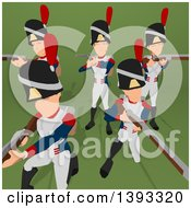 Clipart Of A Cartoon Group Of Napoleonic Soldiers On A Green Background Royalty Free Illustration by Julos