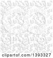 Grayscale Seamless Flower Background