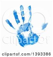 Poster, Art Print Of Blue Paint Hand Print