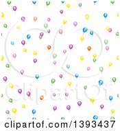 Clipart Of A Seamless Background Pattern Of Colorful Party Balloons On White Royalty Free Vector Illustration