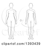 Lineart Drawing Of A Woman Shown Before And After Weight Loss