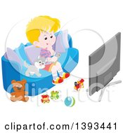 Cartoon Blond Caucasian Boy And Cat Sitting On A Couch And Watching Tv