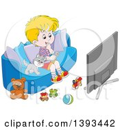 Cartoon Blond White Boy And Cat Sitting On A Couch And Watching Tv