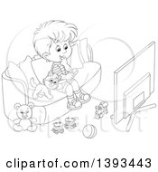 Poster, Art Print Of Cartoon Black And White Lineart Boy And Cat Sitting On A Couch And Watching Tv