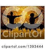 Clipart Of Silhouetted Male And Female Djs Over Hands In A Crowd And Gold Mosaic Royalty Free Vector Illustration