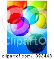 3d Colorful Transparent Bubbles Over Blue