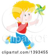 Clipart Of A Happy Blond Caucasian Boy Running And Playing With A Pinwheel Royalty Free Vector Illustration by Alex Bannykh