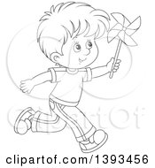 Clipart Of A Cartoon Black And White Lineart Happy Boy Running And Playing With A Pinwheel Royalty Free Vector Illustration by Alex Bannykh