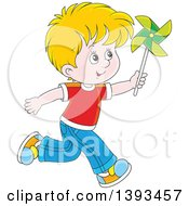 Clipart Of A Cartoon Happy Blond White Boy Running And Playing With A Pinwheel Royalty Free Vector Illustration