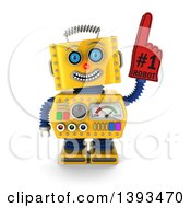 Clipart Of A 3d Yellow Robot Wearing A Number One Foam Finger On A White Background Royalty Free Illustration