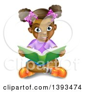 Clipart Of A Happy Black Girl Sitting On The Floor And Reading A Story Book Royalty Free Vector Illustration