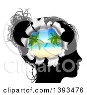 Clipart Of A Black Silhouetted Womans Head Thinking Of Vacation With A Hole Showing A 3d Tropical Beach Royalty Free Vector Illustration by AtStockIllustration
