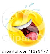 Clipart Of A 3d Laughing And Crying Yellow Male Smiley Emoji Emoticon Face Royalty Free Vector Illustration by AtStockIllustration