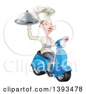Clipart Of A White Male Chef With A Curling Mustache Holding A Platter On A Delivery Scooter Royalty Free Vector Illustration