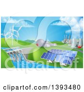 Clipart Of A Landscape Of 3d Renewable Energy Plants With A Dam Solar Panels Wind Turbines Coal Plants And Nuclear Plants Royalty Free Vector Illustration