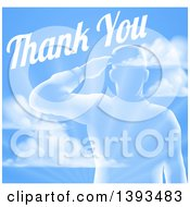 Clipart Of A Transparent Silhouetted Saluting Soldier Over A Blue Sky And Ray Background With Thank You Text Royalty Free Vector Illustration by AtStockIllustration