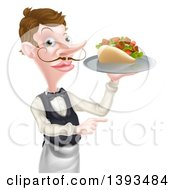 Cartoon Caucasian Male Waiter With A Curling Mustache Holding A Kebab Sandwich On A Tray And Pointing