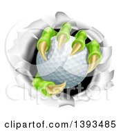 Clipart Of A Monster Claws Holding A Golf Ball And Ripping Through A Wall Royalty Free Vector Illustration