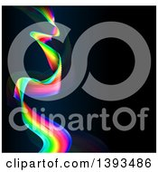Clipart Of A Colorful Rainbow Wave Or Long Flag Over Black Royalty Free Vector Illustration by AtStockIllustration