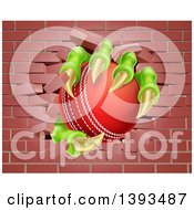Clipart Of A Monster Claws Holding A Cricket Ball And Breaking Through A Brick Wall Royalty Free Vector Illustration