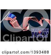 Long Waving American Flag And Fourth Of July Text On Black And Dark Blue