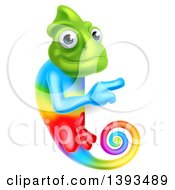 Clipart Of A Rainbow Chameleon Lizard Pointing Around A Sign Royalty Free Vector Illustration