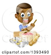 Clipart Of A Happy Black Boy Making Frosting And Cookies Royalty Free Vector Illustration