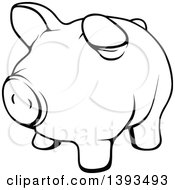 Clipart Of A Black And White Lineart Piggy Bank Royalty Free Vector Illustration